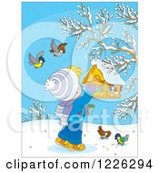 Clipart Of A Caucasian Boy Feeding Birds At A Suspended Feeder Royalty Free Vector Illustration by Alex Bannykh