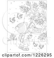 Clipart Of An Outlined Boy Feeding Birds At A Suspended Feeder Royalty Free Vector Illustration