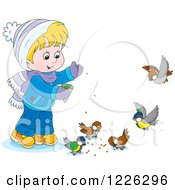 Clipart Of A Caucasian Boy Feeding Birds Royalty Free Vector Illustration by Alex Bannykh