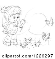 Clipart Of An Outlined Boy Feeding Birds Royalty Free Vector Illustration