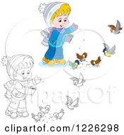 Clipart Of An Outlined And Colored Boy Feeding Birds Royalty Free Vector Illustration