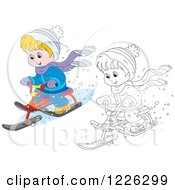 Clipart Of An Outlined And Colored Happy Boy Riding A Snow Sled Bike Royalty Free Vector Illustration