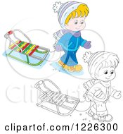 Clipart Of An Outlined And Colored Boy Pulling A Sled Royalty Free Vector Illustration