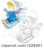 Clipart Of An Outlined And Colored Boy On A Snow Sled Royalty Free Vector Illustration