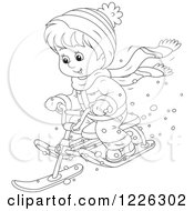 Clipart Of An Outlined Happy Boy Riding A Snow Sled Bike Royalty Free Vector Illustration