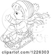 Clipart Of An Outlined Boy On A Snow Sled Royalty Free Vector Illustration by Alex Bannykh
