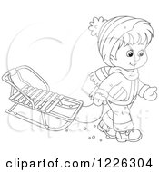 Clipart Of An Outlined Boy Pulling A Sled Royalty Free Vector Illustration by Alex Bannykh