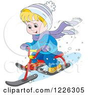Clipart Of A Happy Boy Riding A Snow Sled Bike Royalty Free Vector Illustration