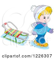 Clipart Of A Caucasian Boy Pulling A Sled Royalty Free Vector Illustration
