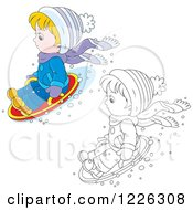 Clipart Of An Outlined And Colored Boy On A Modern Sled Royalty Free Vector Illustration