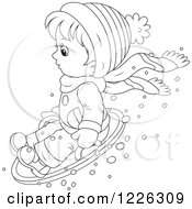 Clipart Of An Outlined Boy On A Modern Sled Royalty Free Vector Illustration