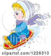 Clipart Of A Caucasian Boy On A Modern Sled Royalty Free Vector Illustration by Alex Bannykh