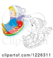 Clipart Of An Outlined And Colored Boy Snow Tubing Royalty Free Vector Illustration by Alex Bannykh
