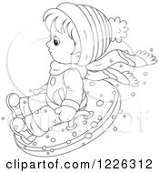 Clipart Of An Outlined Boy Snow Tubing Royalty Free Vector Illustration