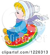 Clipart Of A Caucasian Boy Snow Tubing Royalty Free Vector Illustration