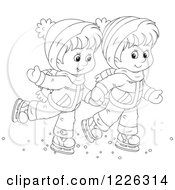 Clipart Of An Outlined Boy And Girl Holding Hands And Ice Skating Royalty Free Vector Illustration
