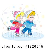 Clipart Of A Caucasian Boy And Girl Holding Hands And Ice Skating Royalty Free Vector Illustration