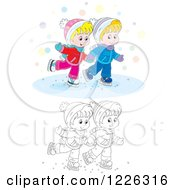 Clipart Of An Outlined And Colored Boy And Girl Holding Hands And Ice Skating Royalty Free Vector Illustration