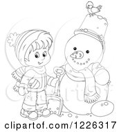 Clipart Of An Outlined Boy By A Snowman Royalty Free Vector Illustration
