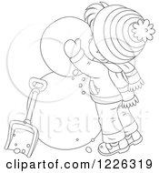 Clipart Of An Outlined Boy Making A Snowman Royalty Free Vector Illustration