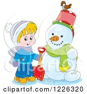 Clipart Of A Cacasian Boy By A Snowman Royalty Free Vector Illustration by Alex Bannykh