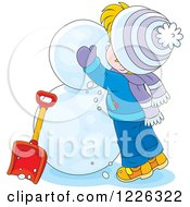 Clipart Of A Caucasian Boy Making A Snowman Royalty Free Vector Illustration by Alex Bannykh