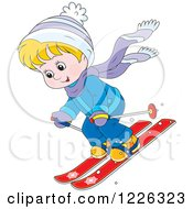 Clipart Of A Blond Caucasian Boy Skiing Royalty Free Vector Illustration by Alex Bannykh