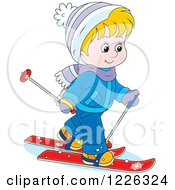 Clipart Of A Caucasian Boy Skiing Royalty Free Vector Illustration