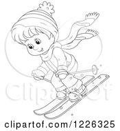 Clipart Of An Outlined Boy Skiing Royalty Free Vector Illustration by Alex Bannykh
