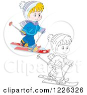 Clipart Of An Outlined And Colored Boy Skiing Royalty Free Vector Illustration