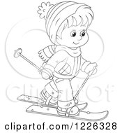 Clipart Of An Outlined Boy Skiing Royalty Free Vector Illustration