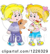 Clipart Of Happy Caucasian Girls Playing With A Doll And Teddy Bear Royalty Free Vector Illustration