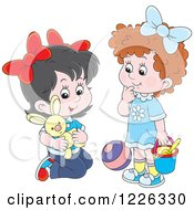 Clipart Of Caucasian Girls Playing With A Stuffed Rabbit Ball And Bucket Royalty Free Vector Illustration