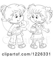 Clipart Of Outlined Girls Playing With A Doll And Teddy Bear Royalty Free Vector Illustration