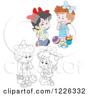 Clipart Of Outlined And Colored Girls Playing With A Stuffed Rabbit Ball And Bucket Royalty Free Vector Illustration