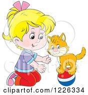 Caucasian Girl Teaching Her Cat A Balance Trick On A Ball