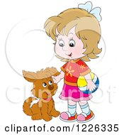 Clipart Of A Caucasian Girl Petting A Puppy Dog Royalty Free Vector Illustration
