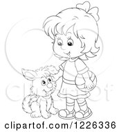 Clipart Of An Outlined Girl Petting A Puppy Dog Royalty Free Vector Illustration