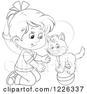 Clipart Of An Outlined Girl Teaching Her Cat A Balance Trick On A Ball Royalty Free Vector Illustration