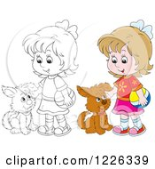 Clipart Of An Outlined And Colored Girl Petting A Puppy Dog Royalty Free Vector Illustration