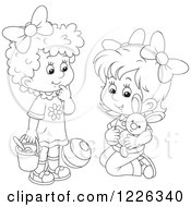 Clipart Of Outlined Girls Playing With A Stuffed Rabbit Ball And Bucket Royalty Free Vector Illustration