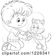 Clipart Of An Outlined Boy Kneeling And Playing With A Kitten Royalty Free Vector Illustration