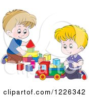Clipart Of Caucasian Boys Playing With Blocks Royalty Free Vector Illustration by Alex Bannykh