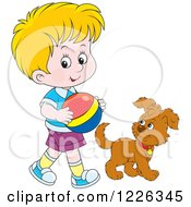 Clipart Of A Caucasian Boy Walking With A Puppy And Ball Royalty Free Vector Illustration by Alex Bannykh