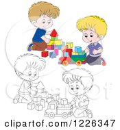 Clipart Of Outlined And Colored Boys Playing With Blocks Royalty Free Vector Illustration
