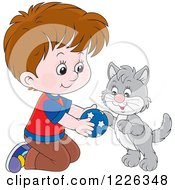 Clipart Of A Caucasian Boy Kneeling And Playing With A Kitten Royalty Free Vector Illustration
