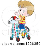 Clipart Of A Caucasian Boy Playing On A Rolling Toy Horse Royalty Free Vector Illustration by Alex Bannykh