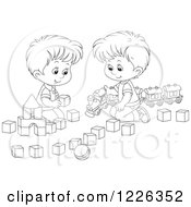 Clipart Of Outlined Boys Playing With A Train And Toy Blocks Royalty Free Vector Illustration