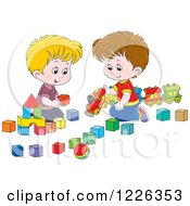 Clipart Of Caucasian Boys Playing With A Train And Toy Blocks Royalty Free Vector Illustration by Alex Bannykh