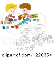 Clipart Of Outlined And Colored Boys Playing With A Train And Toy Blocks Royalty Free Vector Illustration